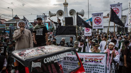 Anti-LGBT activists protest on February 2016 in Yogyakarta, Indonesia.