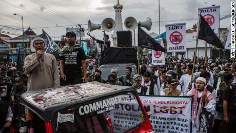 Anti-LGBT activists protest on February 2016 in Yogyakarta, Indonesia.