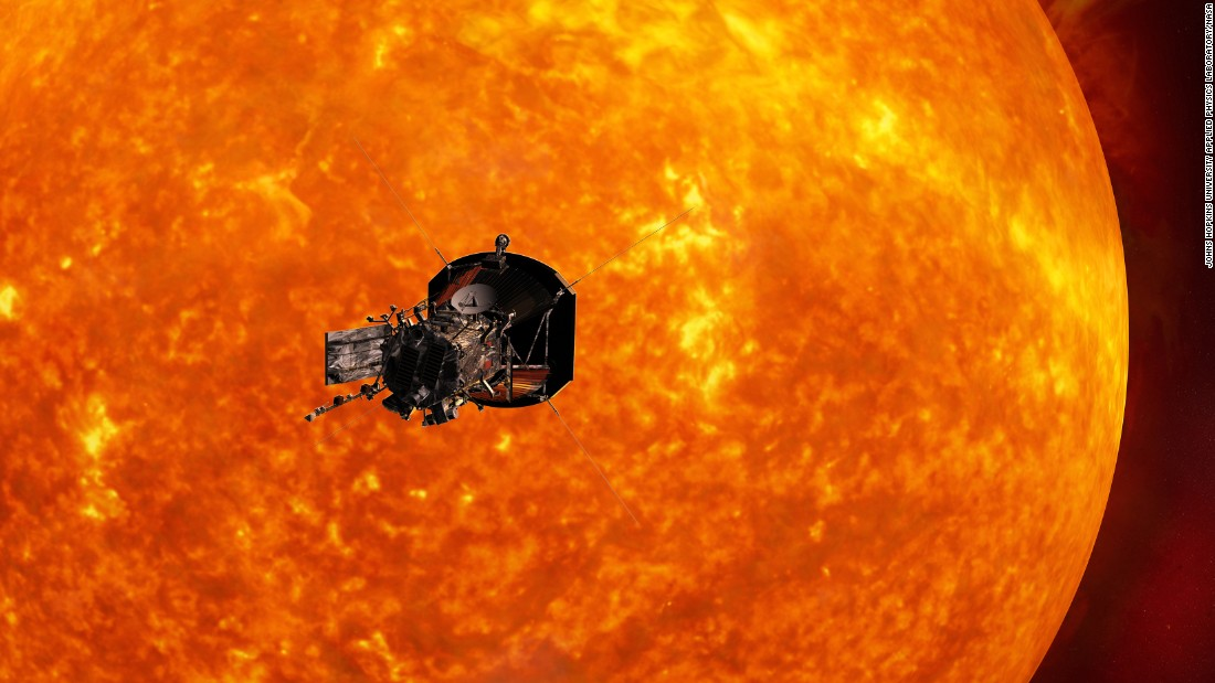 This is an artist's concept of the Solar Probe Plus spacecraft approaching the sun. In order to unlock the mysteries of the corona, but also to protect a society that is increasingly dependent on technology from the threats of space weather, we will send Solar Probe Plus to touch the sun.