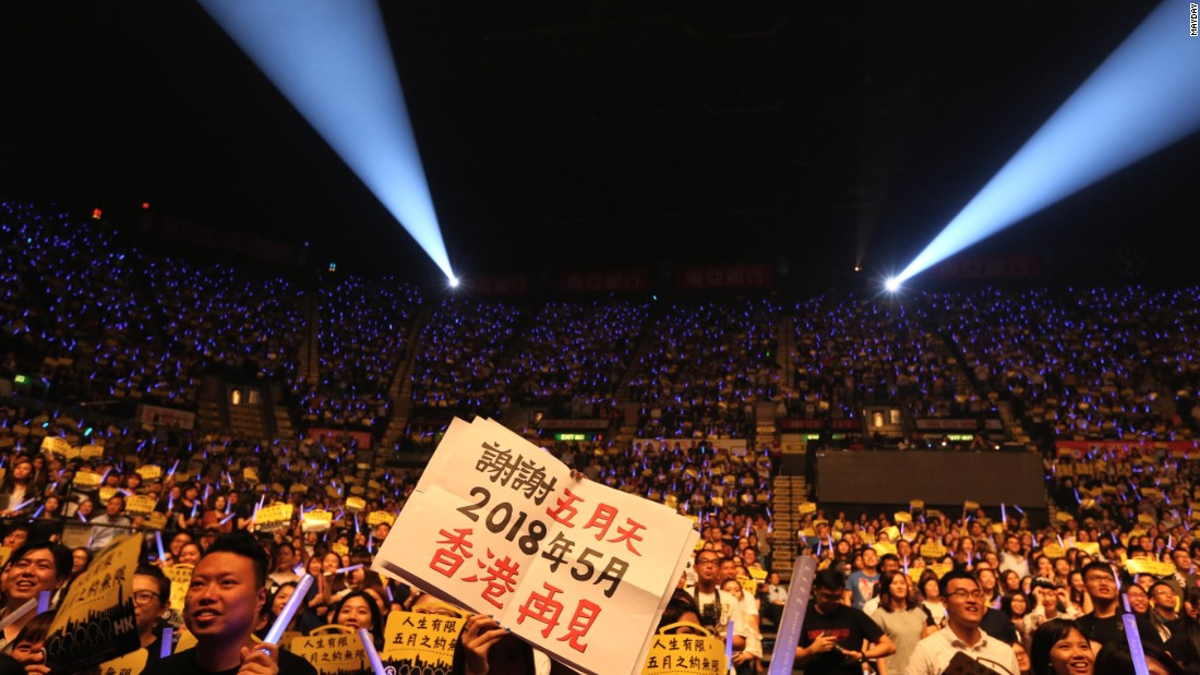 Fans at the Mayday concert in Hong Kong