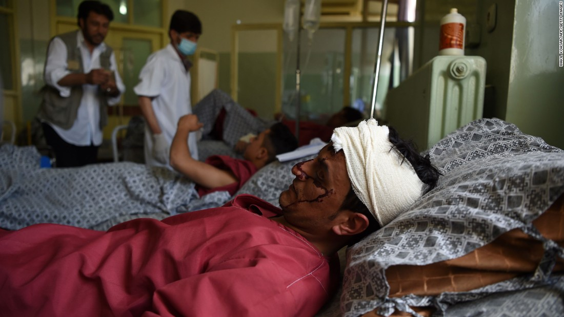 A man wounded in the car bomb attack is treated at a hospital in Kabul.