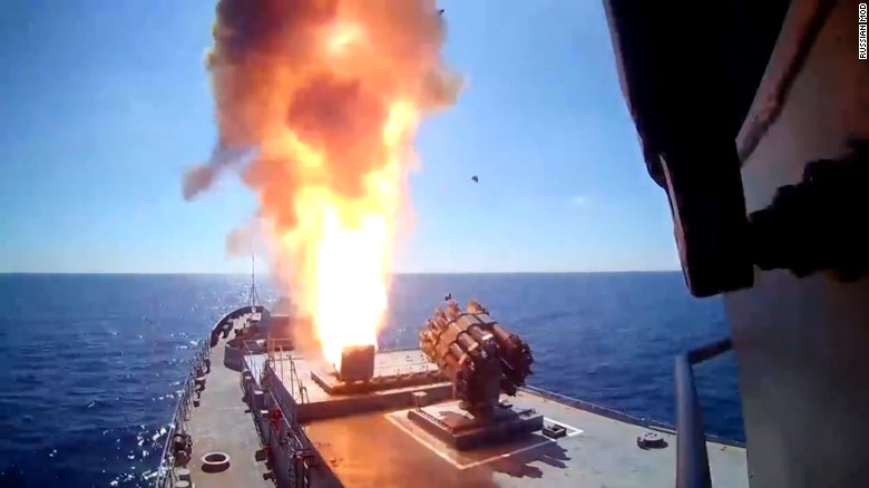 Moment Russian navy fires missiles at ISIS