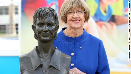 MELBOURNE, AUSTRALIA - JANUARY 29:  Margaret Court poses with a bronze bust of herself during the 2015 Australian Open at Melbourne Park on January 29, 2015 in Melbourne, Australia.  (Photo by Graham Denholm/Getty Images)