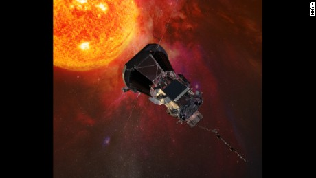 Illustration of the Parker Solar Probe spacecraft approaching the sun.
