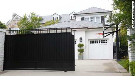 The front gate of a home belonging to LeBron James was freshly repainted Wednesday.