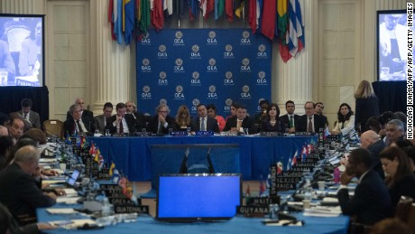 General view of an OAS foreign ministers meeting on Venezuela in Washington, DC, on May 31, 2017. / AFP PHOTO / NICHOLAS KAMM        (Photo credit should read NICHOLAS KAMM/AFP/Getty Images)
