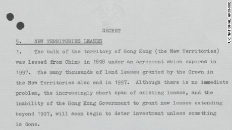A declassified secret document prepared for newly elected British Prime Minister Margaret Thatcher in June 1979 warns of the upcoming issue of the lease to Hong Kong's New Territories.  Original image altered for clarity.