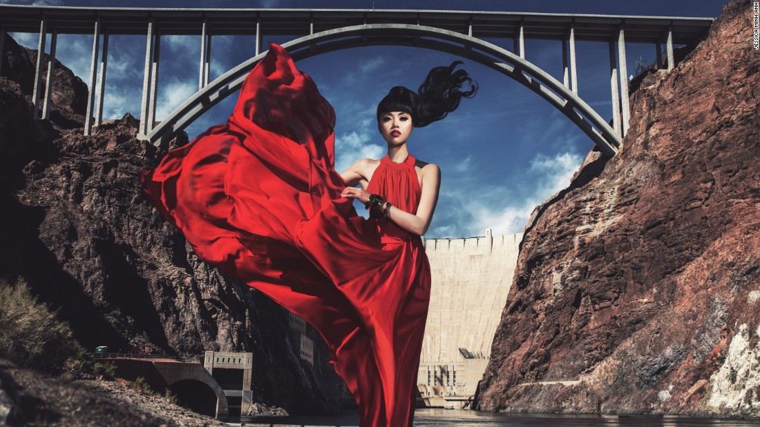 Show producer and model Jessica Minh Anh has made her name with stunt runway shows at international landmarks including the Grand Canyon, London's Tower Bridge and now the Hoover Dam in Boulder City, Nevada.