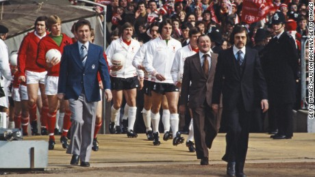 Bob Paisley leads his Liverpool team out against Brian Clough's Nottingham Forest in the 1978 League Cup final at Wembley