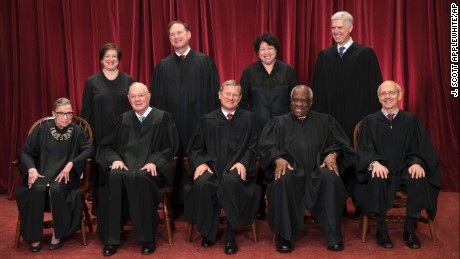 The justices of the U.S. Supreme Court gather for an official group portrait to include new Associate Justice Neil Gorsuch, top row, far right, Thursday. June 1, 2017, at the Supreme Court Building in Washington. Seated, from left are, Associate Justice Ruth Bader Ginsburg, Associate Justice Anthony Kennedy, Chief Justice John Roberts, Associate Justice Clarence Thomas, and Associate Justice Stephen Breyer. Standing, from left are, Associate Justice Elena Kagan, Associate Justice Samuel Alito Jr., Associate Justice Sonia Sotomayor and Associate Justice Neil Gorsuch.
