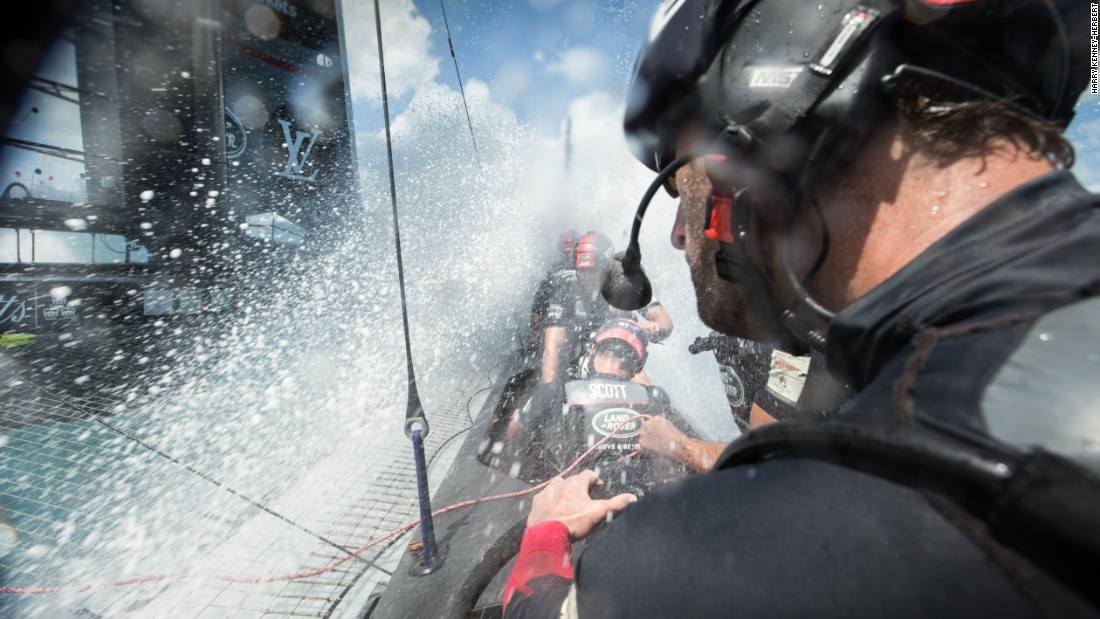 "<strong>Land Rover BAR: ""</strong>This was during a rare opportunity to get on-board the team's race boat and right in the action. The boat was doing 40 knots, we dipped a little and the windward foil clipped the water throwing up this intense spray"" -- Harry Kenney-Herbert."