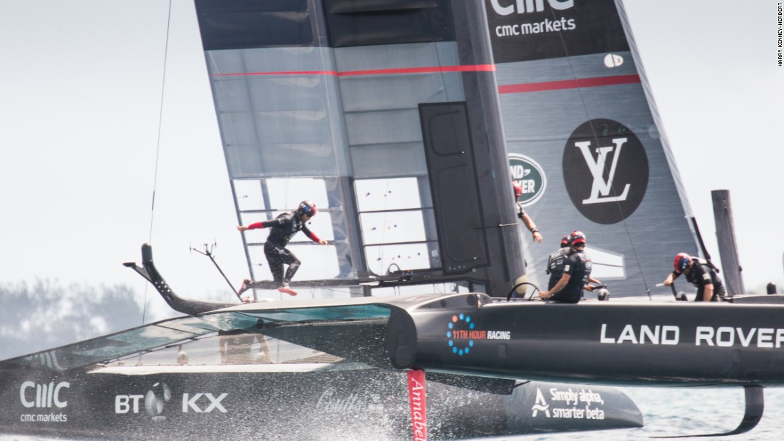 "<strong>Land Rover BAR</strong>: ""There's a crew of six on-board and the guys have to cross the boat as fast as possible and sometimes this means leaping over the back beam -- skipper Ben Ainslie, pictured here mid tack"" -- Harry Kenney-Herbert."