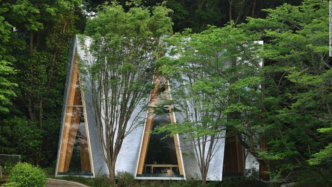 "The upper walls of this chapel in Japan's Saitama prefecture lean inward in order to avoid the tree branches, forming an upside-down ""V"" structure called ""Gassho-zukuri."" This structural form is similar to the shape made by two hands while in prayer."