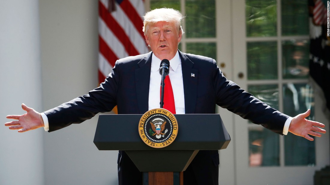 "US President Donald Trump speaks about the Paris climate accord, <a href=""http://www.cnn.com/2017/06/01/politics/trump-paris-climate-decision/index.html"" target=""_blank"">which he withdrew the United States from</a> on Thursday, June 1. Foreign leaders, business executives and Trump's daughter Ivanka lobbied heavily to remain part of the deal, but they ultimately lost out to conservatives who claim the plan is bad for the United States."