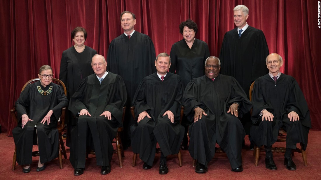 "The justices of <a href=""http://www.cnn.com/2012/09/28/us/gallery/the-supreme-court-today/index.html"" target=""_blank"">the US Supreme Court </a>sit for an official photograph on Thursday, June 1. In the front row, from left, are Ruth Bader Ginsburg, Anthony Kennedy, Chief Justice John Roberts, Clarence Thomas and Stephen Breyer. In the back row, from left, are Elena Kagan, Samuel Alito, Sonia Sotomayor and <a href=""http://www.cnn.com/2017/03/19/us/gallery/neil-gorsuch/index.html"" target=""_blank"">newest justice Neil Gorsuch.</a>"