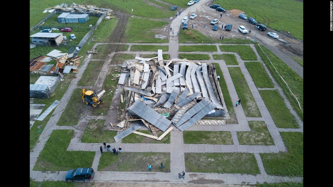 "A pyramid built by Alexander Golod was among the buildings damaged by <a href=""http://www.cnn.com/2017/05/30/europe/moscow-storm/"" target=""_blank"">a major storm in Moscow</a> on Monday, May 29."