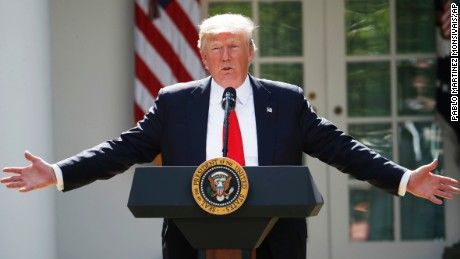 President Donald Trump speaks about the U.S. role in the Paris climate change accord, Thursday, June 1, 2017, in the Rose Garden of the White House in Washington. (AP Photo/Pablo Martinez Monsivais)
