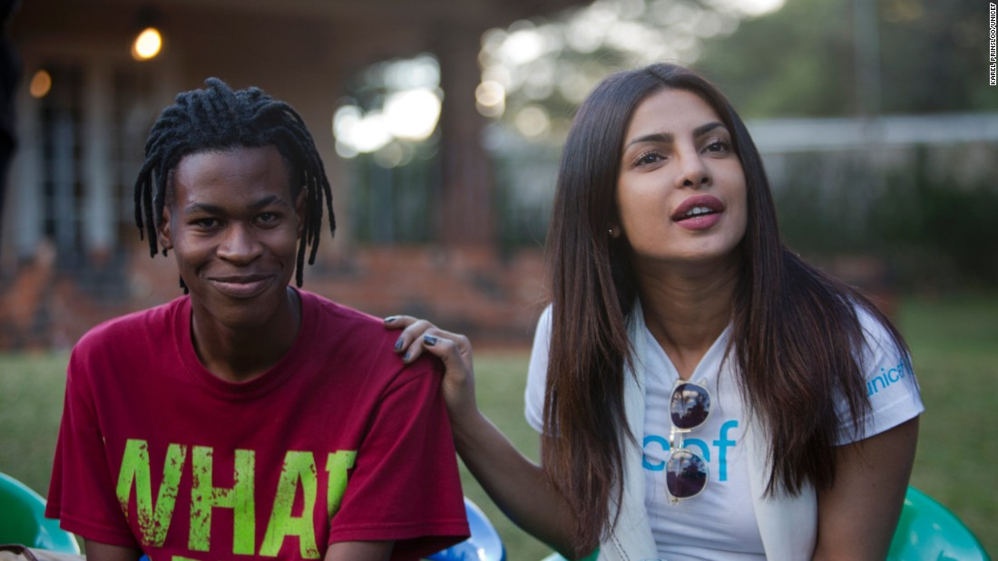 On May 4, 2017 in Zimbabwe, UNICEF Goodwill Ambassador Priyanka Chopra (right), her hand on the shoulder of an adolescent sitting beside her, listens during a meeting with adolescents living with HIV, at the AFRICAID support center in Avondale, a suburb of Harare, the capital. AFRICAID provides specialized services in support of the Government's National Action Plan for Orphans and Vulnerable Children. Interventions, led by young people living with HIV, provide HIV-positive children and other vulnerable children and their families with the knowledge, skills and confidence they need to stay safe, and to cope with the associated stigma and discrimination people living with HIV and survivors of sexual violence and abuse face.