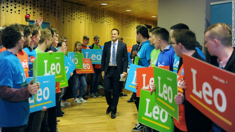 "Varadkar smiles at supporters during the launch of his leadership campaign, ""Campaign for Leo,"" in May."