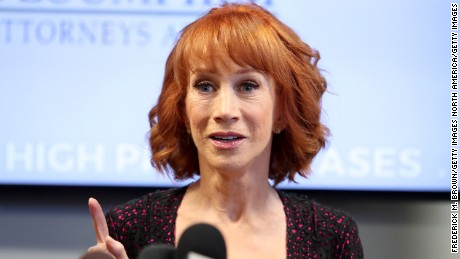 Kathy Griffin  speaks during a press conference at The Bloom Firm on June 2, 2017 in Woodland Hills, California.