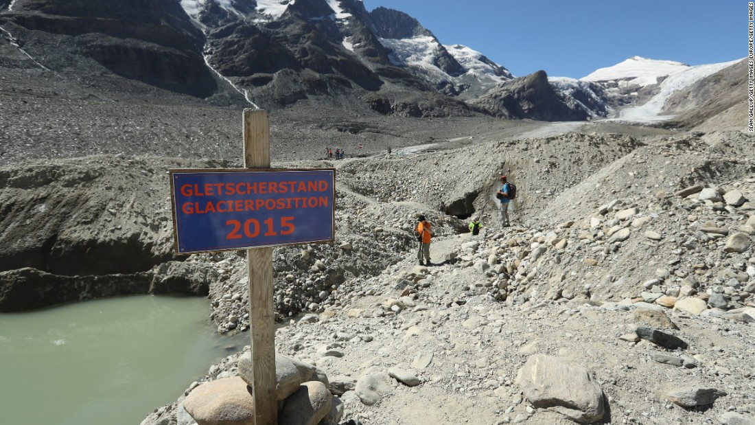 "The Pasterze glacier is Austria's largest and it's shrinking rapidly: the sign on the trail indicates where the foot of the glacier reached in 2015, a year before this photo was taken. The European Environmental Agency <a href=""https://www.eea.europa.eu/data-and-maps/indicators/glaciers-2/assessment"" target=""_blank"">predicts</a> the volume of European glaciers will decline by between 22 percent and 89 percent by 2100, depending on the future intensity of greenhouse gases."
