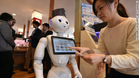Sushi restaurant Hamazushi's touch screen menu is set up on Japanese telecom giant Softbank's humanoid robot Pepper. The sushi restaurant gave a demonstration in February 2017 on how to utilise the humanoid robot Pepper, showing that the robots can handle services like receiving and helping customers to their tables.