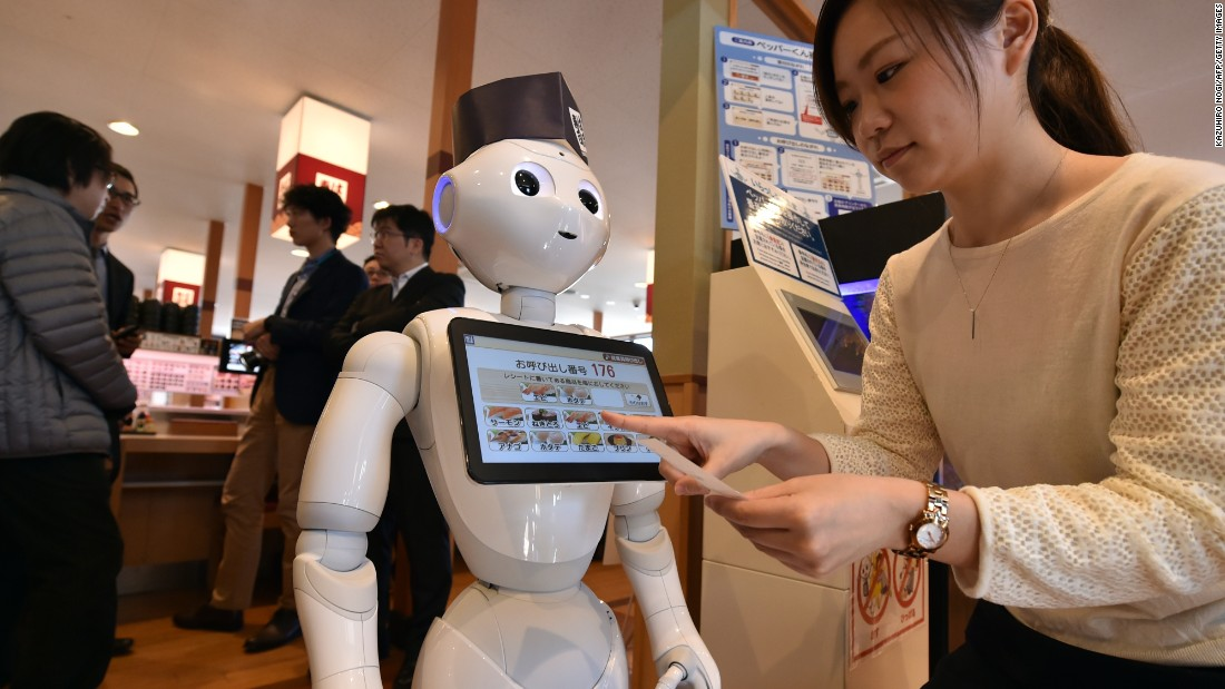 Humanoid robot Pepper has taken over from human front of house staff at Hamazushi, a chain of sushi restaurants in Japan. Pepper handles your seating, escorts you to your table and lets you order from a touch screen menu on its chest.