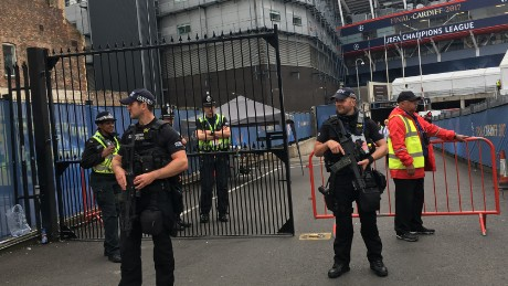 Armed police outside the Principality Stadium in Cardiff
