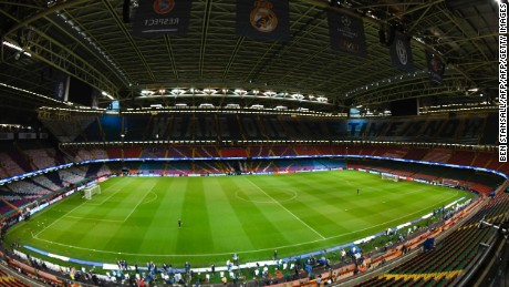 A general view shows the interior of The Principality Stadium in Cardiff, on June 2, 2017, on the eve of the UEFA Champions League final football match between Juventus and Real Madrid. / AFP PHOTO / Ben Stansall        (Photo credit should read BEN STANSALL/AFP/Getty Images)
