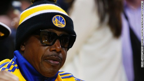 OAKLAND, CA - JUNE 04:  MC Hammer attends Game One of the 2015 NBA Finals between the Golden State Warriors and the Cleveland Cavaliers at ORACLE Arena on June 4, 2015 in Oakland, California. NOTE TO USER: User expressly acknowledges and agrees that, by downloading and or using this photograph, user is consenting to the terms and conditions of Getty Images License Agreement.  (Photo by Ezra Shaw/Getty Images)