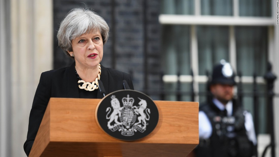 "Prime Minister Theresa May makes a statement at 10 Downing Street, following a Cobra security meeting in response to Saturday night's terror attack. Violence must ""never be allowed to disrupt the democratic process,"" May said, adding that Thursday's general election will go ahead."