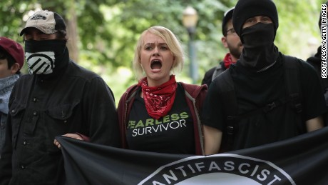 Anti-fascist, or Antifa, demonstrators confront pro-Trump demonstrators during a protest on June 4, 2017, in Portland, Oregon.