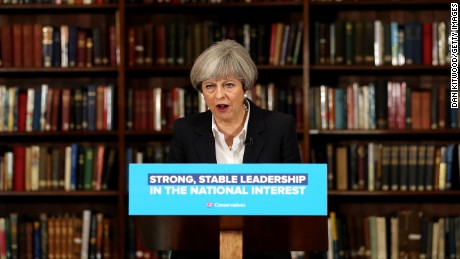 LONDON, ENGLAND - JUNE 05:  British Prime Minister, Theresa May speaks at RUSI as she resumes the Conservative party election campaign on June 5, 2017 in London, England. The political parties resumed campaigning today after the weekend's terror attacks in the London Bridge and Borough areas of Central London.  Theresa May will campaign in London, Scotland and West Yorkshire today.  (Photo by Dan Kitwood/Getty Images)