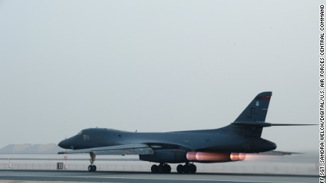 A U S Air Force B 1 Bomber Takes Off From Al Udeid Air Base For