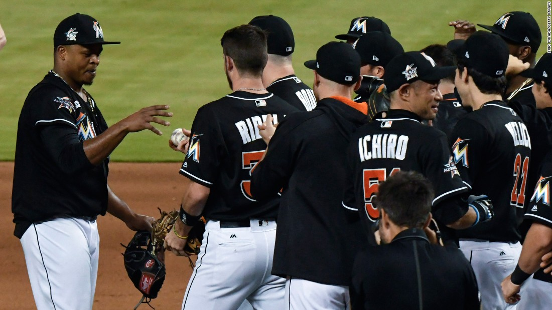 Miami pitcher Edinson Volquez is handed a game ball after throwing a no-hitter against Arizona on Saturday, June 3. It was the first no-hitter thrown in the majors this season.