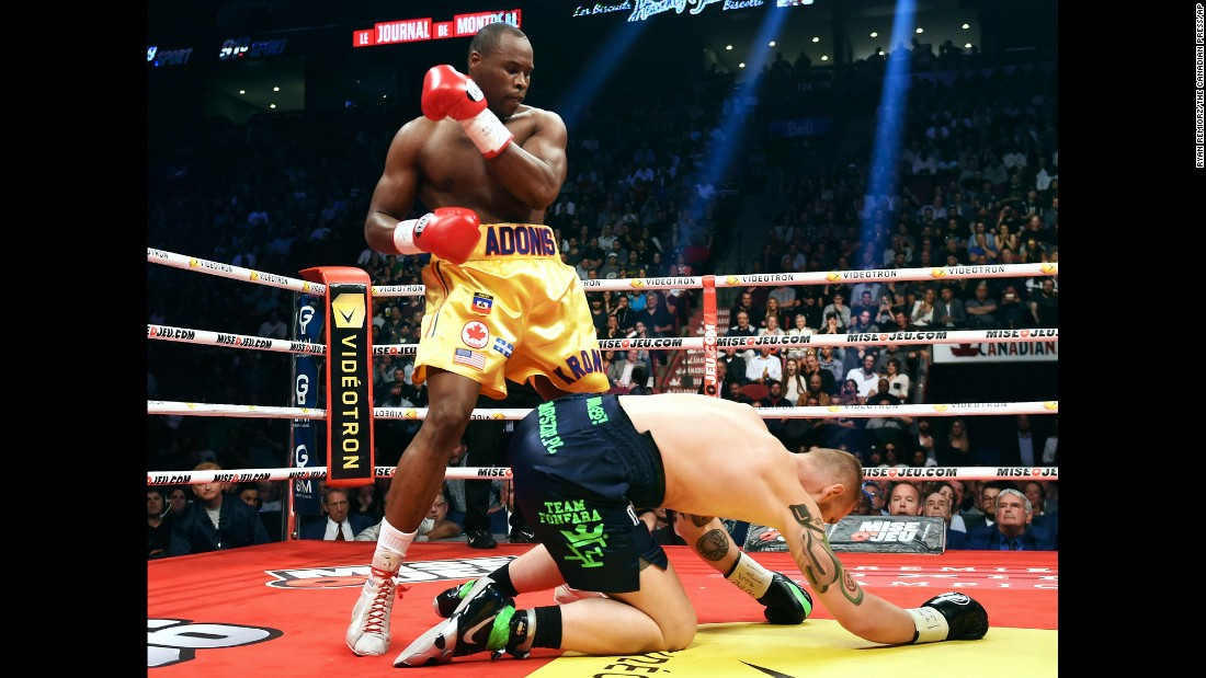 Adonis Stevenson stands over Andrzej Fonfara during their light-heavyweight title fight on Saturday, June 3. Stevenson defended his WBC belt with a second-round stoppage in his adopted hometown of Montreal.
