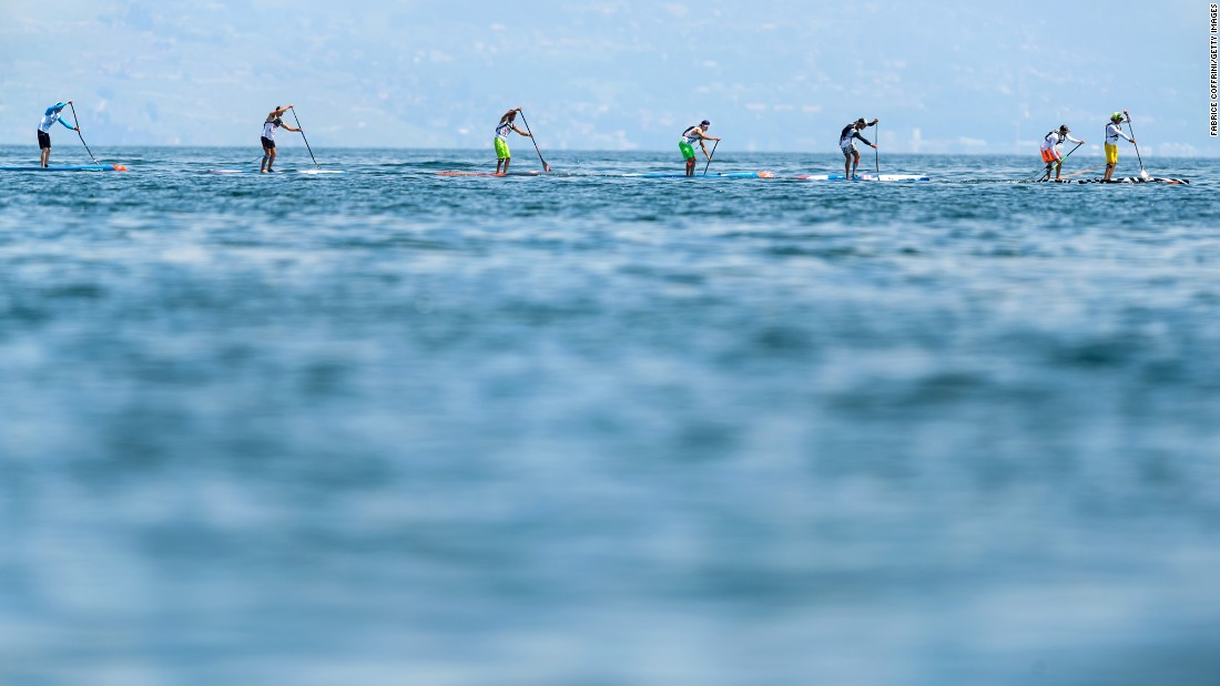 Paddleboarders compete in the Thonon Sup Race on Saturday, June 3. The 19-kilometer (11.8-mile) race crosses Lake Geneva between Switzerland and France.