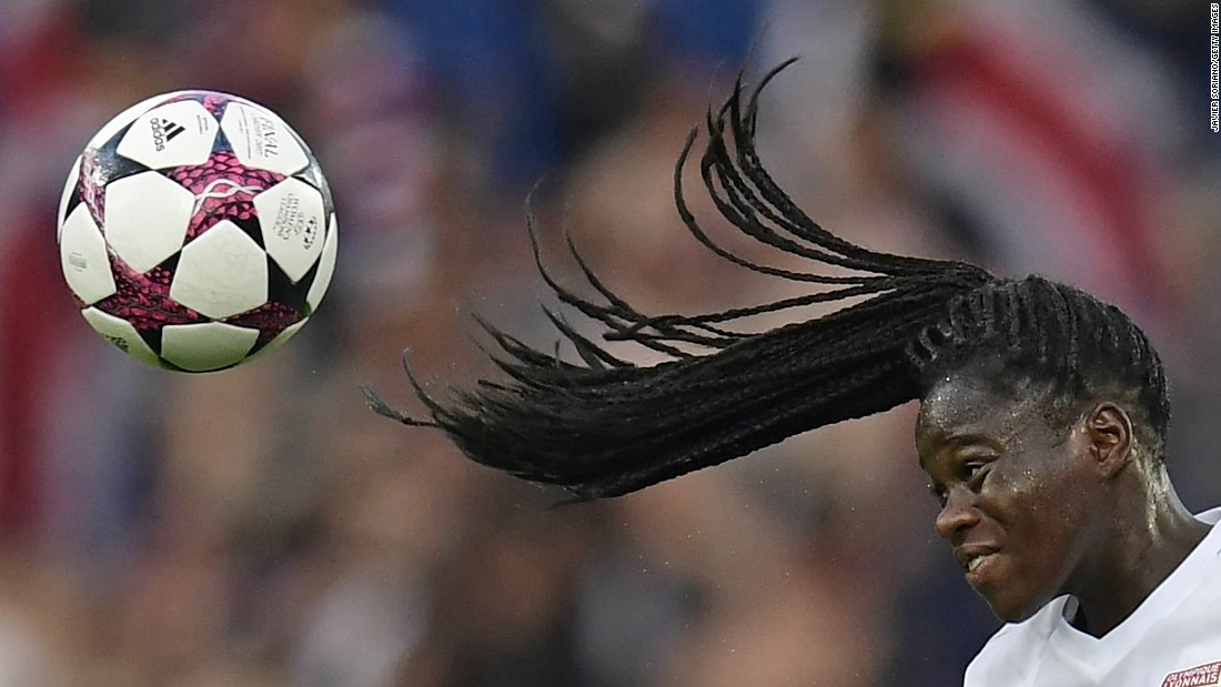 Lyon defender Griedge Mbock Bathy leaps for a header during the final of the Women's Champions League on Thursday, June 1. Lyon won on penalties, defeating another French club, Paris Saint-Germain, after the match ended scoreless. Lyon also won the tournament last year.