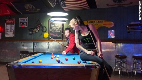 A  pool game at the Bottoms Up trucker bar in Lebanon, Indiana.
