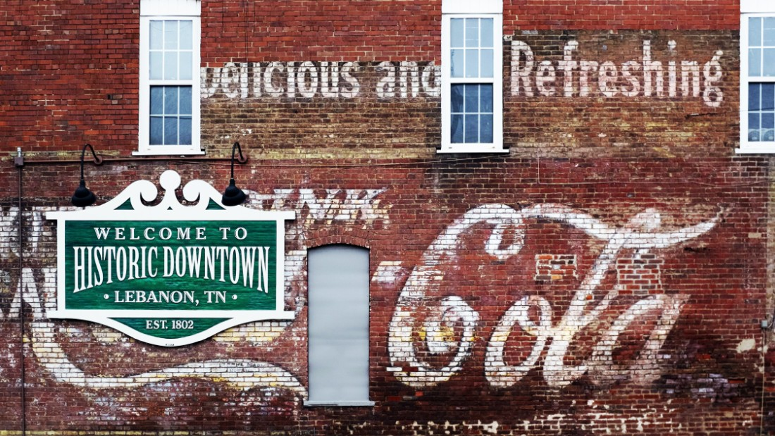 "The ""historic downtown"" district of Lebanon in Tennessee. Founded in 1801, the town's nickname is Cedar City."