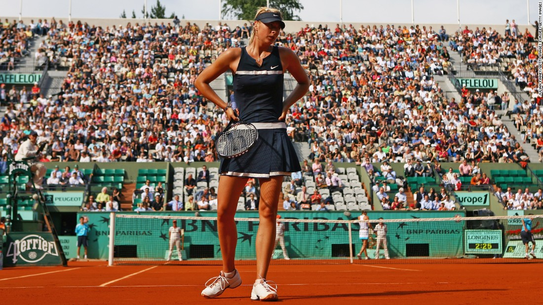 At Roland Garros in 2008, Sharapova wore this blue-and-white outfit inspired by 1920s French tennis star Suzanne Lenglen.