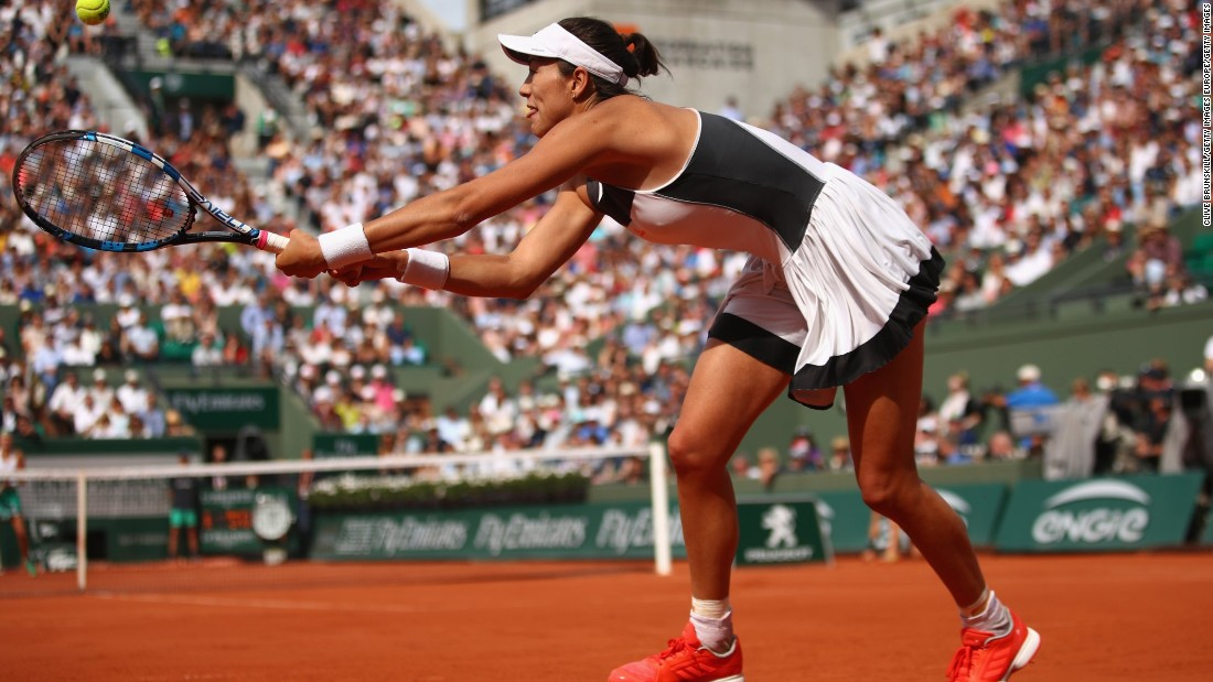 Defending champion Garbine Muguruza was knocked out by Kristina Mladenovic. Though both are sponsored by Adidas, the pair had none of the clashing problems of Zverev and Thiem.