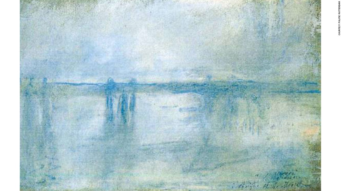 "Among many works stolen from the Rotterdam Kunsthal in October 2012, one can find Monet's ""Waterloo Bridge, London"" and ""Charing Cross Bridge, London."" The mother of one of the thieves claimed to have burned the stolen paintings in an attempt to hide the evidence, but hope remains that this is not the case."