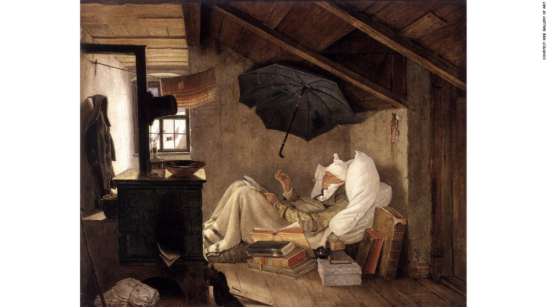 "Hitler's favorite painting was ""The Poor Poet"" by Carl Spitzweg, a somewhat kitschy romantic painting that has one of art theft's most bizarre and serpentine stories. It was famously stolen in 1976 by the performance artist Ulay, who took it from the National Gallery in Berlin and hung it on the wall in the home of a poor, immigrant Turkish family as part of what he called a ""political action."" He immediately phoned the museum and turned himself in, explaining that he did this as a form of political protest. The painting was returned, but it was stolen again in 1989 (not by Ulay), and it has never been recovered."