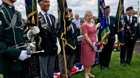 "Tracy Brabin at the unveiling of a new war memorial in the neighboring constituency of Dewsbury. ""Our community understands what it is to lose someone in the line of duty,"" she told the crowd."