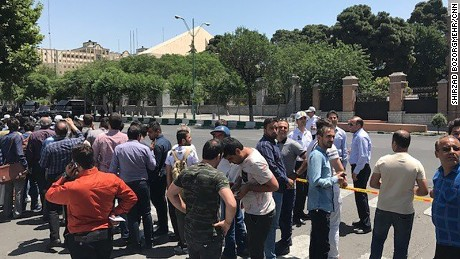 Still images from outside the parliament building in Tehran, Iran.
