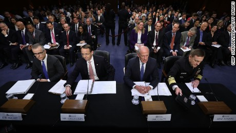 WASHINGTON, DC: (L-R) Acting FBI Director Andrew McCabe, Deputy Attorney General Rod Rosenstein, Director of National Intelligence Daniel Coats and National Security Agency Director Adm. Michael Rogers prepare to testify before the Senate Intelligence Committee in the Hart Senate Office Building on Capitol Hill June 7, 2017 in Washington, DC. (Chip Somodevilla/Getty Images)