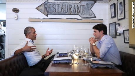 Just another man date Tuesday in Montreal, where Barack Obama and Justin Trudeau shared dinner.