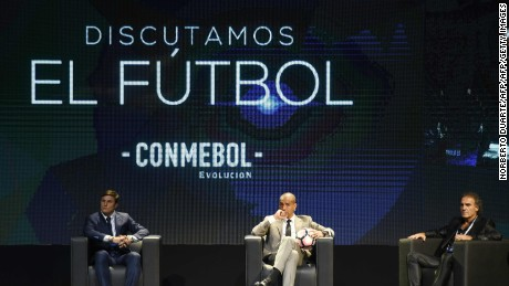 Former footballers (L to R) Javier Zanetti, David Trezeguet and Oscar Ruggeri  participate in a meeting to discuss strategies about how the new football should be developed in the region, at the Conmebol headquarters in Luque, Paraguay, on May 17, 2017. / AFP PHOTO / NORBERTO DUARTE        (Photo credit should read NORBERTO DUARTE/AFP/Getty Images)