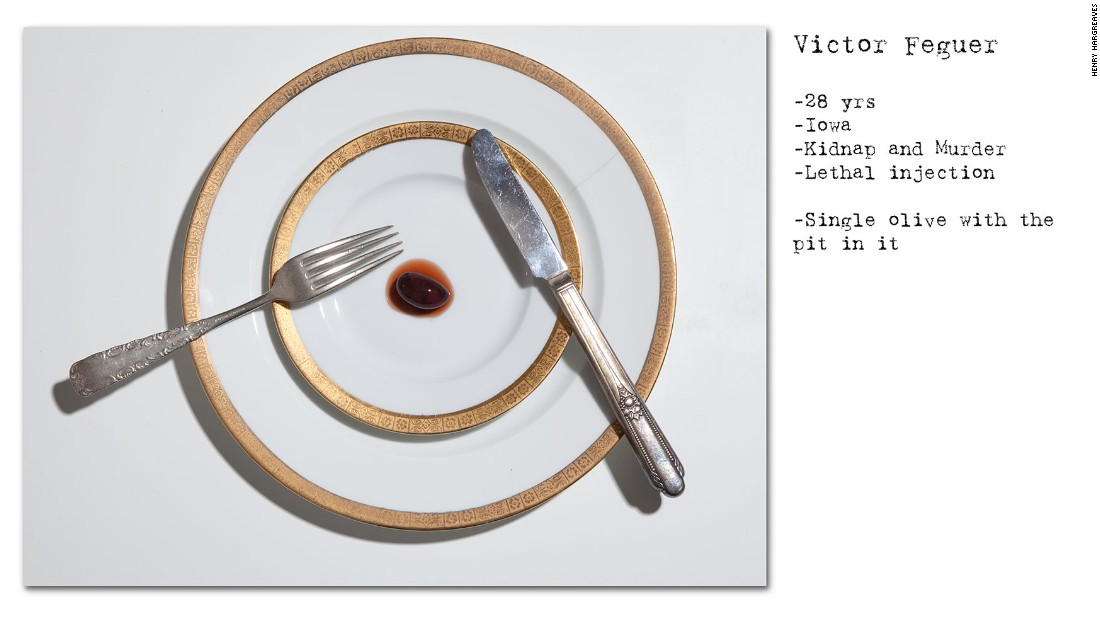 "Hargreaves' acclaimed ""No Seconds"" series, recreated the last meals of death row prisoners to chilling effect."